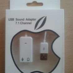 Placa de sunet externa USB (3D sound) pt pc si laptop, Apple IOS, MAC, Android - Placa de sunet PC