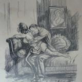 SCENA SEX FIERBINTE - GRAFICA - CARBUNE PE CARTON - SEMNATA STANGA JOS - DIMENSIUNI 50 X 40 ( 56 X 46 ) - Pictor roman