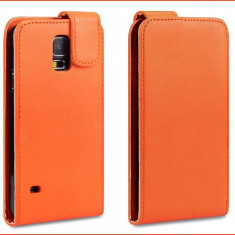 Husa Galaxy S5 Samsung NEO Galaxy portocalie piele - Husa Telefon, Samsung Galaxy S5, Portocaliu, Piele Ecologica, Cu clapeta