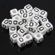 100 buc Margele plastic acril, alfabet, albe, litera D, forma de cub, 6 mm