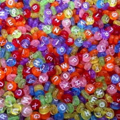 100buc Margele plastic color transparente, litere alfabet mix, rotunde, 7 x 4 mm
