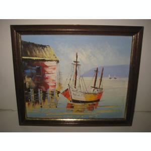 Tablou cu tema marina cu velier la tarm si in larg 2 veliere.