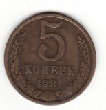 U.R.S.S. 5 copeici 1981 - Y# 129a, Europa