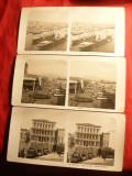Set 3 Fotografii Stereoscopice -Napoli portul si Venetia 1904