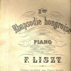 267 PARTITURA antebelica-Rapsodie Hongroise -Friska- pentru pian -de F. Liszt -starea care se vede