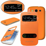 Husa toc portocalie orange S View Samsung Galaxy S3 i9300 +  folie ecran