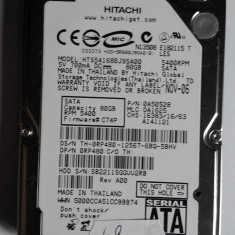 Hard disk laptop notebook HDD SATA Hitachi 80GB DEFECT ( HTS541680J9SA00 ) - HDD laptop Hitachi, 41-80 GB, SATA2
