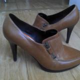 Pantofi din piele cu platforma marimea 39, sunt noi! - Pantof dama, Culoare: Maro, Maro, Cu toc