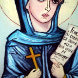 Sf.PARACHIVA semnata I.IACOB - pictura veritabila pe sticla, icoana, tablou, Parascheva - Pictor roman