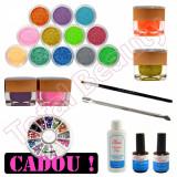 Kit Nail-Art cu Geluri UV colorate si cu sclipici, lichide adjuvante, pensula, Sina