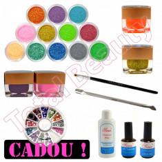 Kit Nail-Art cu Geluri UV colorate si cu sclipici, lichide adjuvante, pensula - Gel unghii Sina