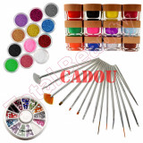 Kit Nail-Art decoratiuni unghii cu Gel UV colorat si sclipici + CADOU 15 Pensule