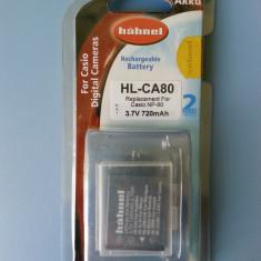 Acumulator Hahnel Irlanda NP-80 pentru Casio, nou, sigilat - Baterie Aparat foto Casio, Dedicat