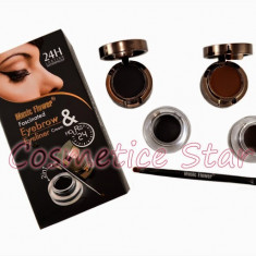 Eyebrow gel sprancene maro si eyeliner gel tus ochi negru+ fard sprancene