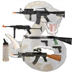 MEGA SET AIRSOFT CALIBRU 6mm COMPUS DIN 4 PUSTI, 2 PISTOALE SI 1000 BILE BONUS. - Arma Airsoft