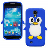 Husa silicon pinguin Samsung Galaxy S4 i9500 i9505 + folie ecran, Albastru
