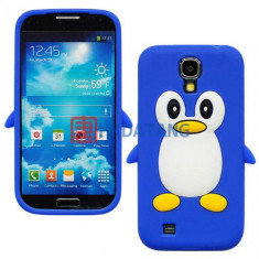Husa silicon pinguin Samsung Galaxy S4 i9500 i9505 + folie ecran - Husa Telefon Samsung, Albastru