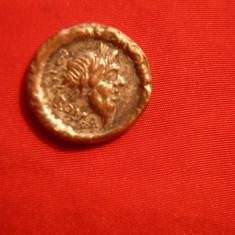 Denar Republican Roma, revers Car - F.Rar !, metal argintat - Copie veche - Moneda Antica