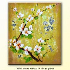Tablou cu flori de piersic (60x50cm) - ulei pe panza, livrare gratuita in 24h