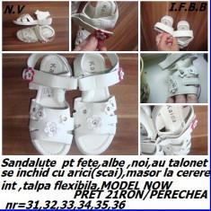 Sandale pt fete noi ,albe,nr  31,MODEL NOW