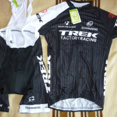 Echipament ciclism complet trek factory racing set tricou pantaloni cu bretele
