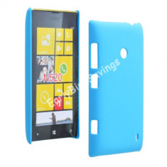 Husa plastic Nokia Lumia 520 + folie protectie ecran - Husa Telefon Nokia, Albastru