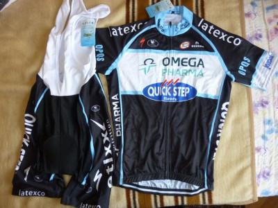 echipament ciclism complet  marime S omega pharma quickstep set tricou pantaloni foto