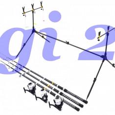 Set ROD POD 3 posturi, 3 lansete Black 2, 4m si 3 mulinete 4 rulmenti si Guta - Set pescuit