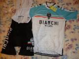 Echipament ciclism bianchi milano  set pantaloni cu bretele tricou jersey bib, Tricouri