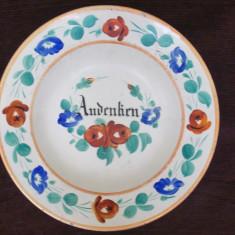 Farfurie veche de portelan din a doua jumatate a sec. XIX.Pictura manuala. - Arta Ceramica