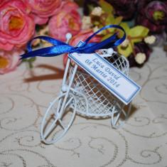 Marturii Nunta/botez Bicicleta metalica alba, CEL MAI MIC PRET DE PE PIATA - Marturii botez