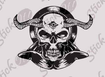 Devil Skull_Tatuaj Perete_Sticker Wall Cod: WALL-422  -  Orice culoare, Orice model pe comanda foto