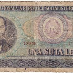 Bancnota 100 lei 1966 - Bancnota romaneasca