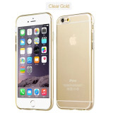 Iphone 6 6S - Husa Ultra Slim 0.3mm din Silicon Moale Clar Gold - Husa Telefon Apple, Auriu