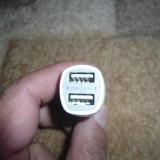 Adaptor Bricheta Auto 2 Usb Alb 1A2A 5V