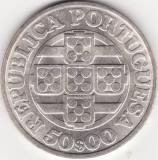 Moneda - Republica Portugheza - 50 Escudos 1971 - A 125-a aniversare a Bancii Portugaliei - Argint
