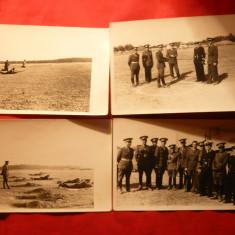 4 Fotografii -Armata romana la manevre, interbelice - Fotografie veche