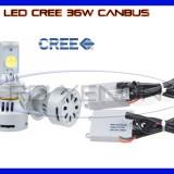 KIT LED LEDURI CREE 36W 12V, 24V - D2S -3200 LM, APRINDERE INSTANTA - Led auto BOORIN, Universal