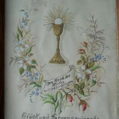 Splendid si Vechi Tablou Pocalul Sfant Pictat Manual Delicat si Finut, cu dedicatie.Sfantul Gral Inramat.Provenienta Germania - Pictor strain