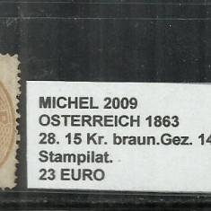 AUSTRIA 1863 - OSTERREICH - 28, 15 Kr.