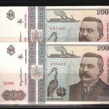 2 BANCNOTE 200 LEI 1992, NECIRCULATE - SERII CONSECUTIVE - Bancnota romaneasca
