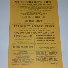 Program meci fotbal SUTTON UNITED - CHESHUNT (Anglia) 04.12.1971