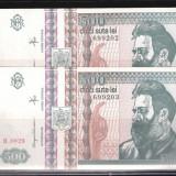 2 BANCNOTE 500 LEI 1992 NECIRCULATE - SERII CONSECUTIVE - Bancnota romaneasca