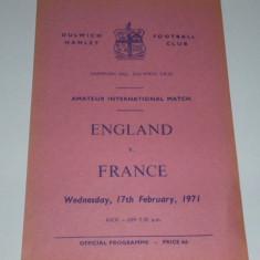 Program meci fotbal ANGLIA - FRANTA 17.02.1971(meci amical de amatori)