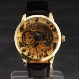 Ceas WINNER FULL SKELETON Mecanic / Automatic, Barbatesc, Curea Piele - Culoare Auriu - Ceas barbatesc, Lux - elegant