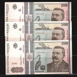 3 BANCNOTE 200 LEI 1992, NECIRCULATE - SERII CONSECUTIVE - Bancnota romaneasca