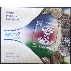 ROMANIA 2008 - EFIRO,  1 S/S NEOBLITERATA CU CAP DE BOUR - RO 0042