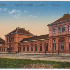 Satu Mare, Gara, necirculata, animatie, 1917 - Carte Postala Crisana 1904-1918