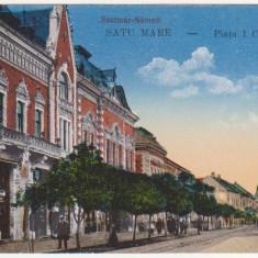 Satu Mare, Piata I.C.Bratianu, necirculata, animatie, trasura, 1917 - Carte Postala Crisana 1904-1918