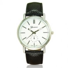 Ceas barbati - marca Geneva - carcasa argintie cadran alb - Ceas barbatesc